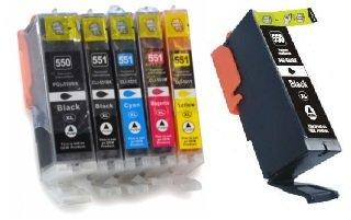 6 XL Druckerpatronen kompatibel für Canon PGI-550 XL & CLI-551 XL, Canon Pixma iP7150, iP7250, iP8750, iX6850, MG5450, MG5550, MG5650, MG6350, MG6450, MG6650, MG7150, MG7550, MX725, MX925