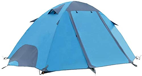Laz, tienda de campaña de doble capa, resistente a la lluvia, a prueba de viento y a prueba de viento, tiendas de campaña para 2 personas (color: azul A, tamaño: soporte de fibra de vidrio)