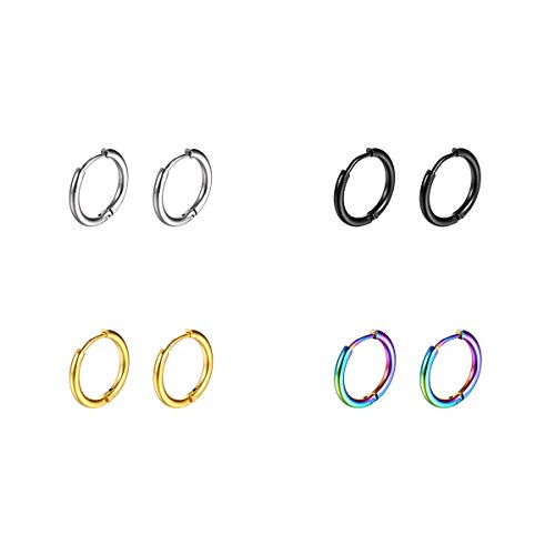 Surgical Stainless Steel Hoop Earrings 8mm/10mm/12mm Small Huggie Hoop Earrings for Women and Men