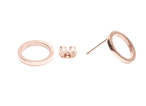 Happiness Boutique Women Open Circle Stud Earrings in Rose Gold | Minimalist Geometric Round Circle Earrings Titanium Jewellery