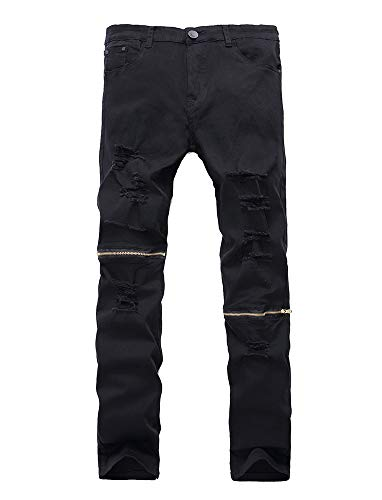 Lavnis Men's Skinny Ripped Jeans Slim Fit Destroyed Jeans with Holes Pencil Denim Pants Style 1 black-28