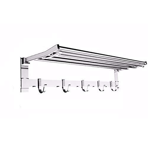DBXCQ Baño Plegable Toalla Estante Libre perforación Espacio Aluminio aleación Toalla estantes de Inodoro baño baño Montaje en Pared Multifuncional baño Dormitorio Sala de Silver