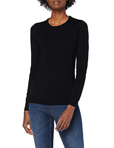 Amazon-Marke: MERAKI Merino Pullover Damen mit Rundhals, Schwarz (Black), 36, Label: S