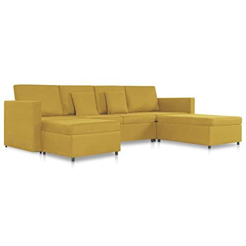 vidaXL Schlafsofa 4-Sitzer Ausziehbar Sofa Sofabett Schlafcouch Ecksofa Eckcouch Bettsofa Gästebett Polstersofa Couch Sofagarnitur Stoff Gelb