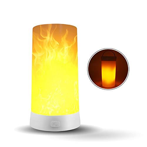 Gutyan Lampada A LED Ad Effetto Fiamma, 3 modalità Fiamma Lampada da Tavolo con Base Magnetica Impermeabile Flicker Flame Light