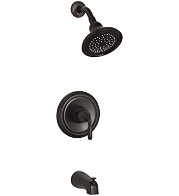 KOHLER K-TS395-4-2BZ Devonshire(R) Rite-Temp(R) bath and shower valve trim with lever handle, NPT spout and 2.5 gpm showerhead, 1, Oil-Rubbed Bronze
