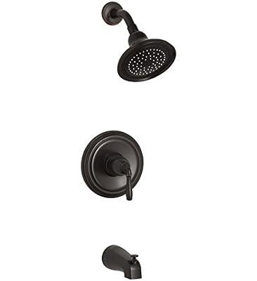 KOHLER K-TS395-4-2BZ Devonshire(R) Rite-Temp(R) bath and shower valve trim with lever handle, NPT spout and 2.5 gpm showerhead, 1, Oil-Rubbed Bronze