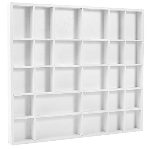 Creative Deco Weiße Setzkasten Sammelbox Holz Holztablett 28 Fächer | 44,5 x 40 x 3 cm | Bemalen Holz Sortierung Speicherregal Box Drucker | Perfekt für Decoupage, Lagerung, Dekoration