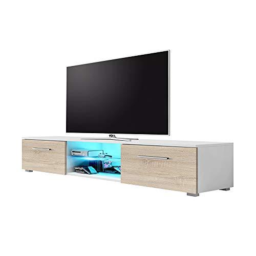 Syvis - TV-Lowboard / TV-Bank / Fernsehschrank (140 cm, Weiß Matt/Sonoma Eiche Matt , LED in Blau)