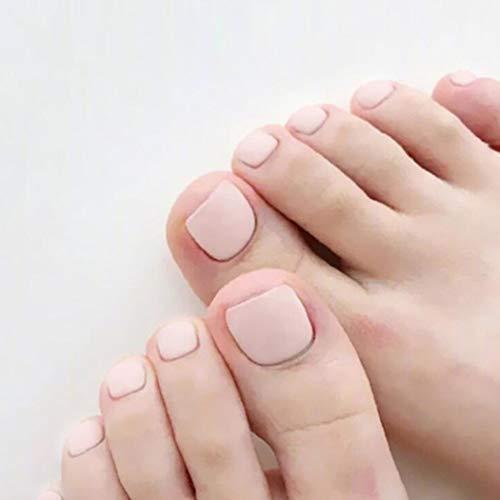 Yean Matte False Toenails Pink Fake Feet Nails Volle Abdeckung Künstliche Zehennagelspitzen für Frauen und Mädchen