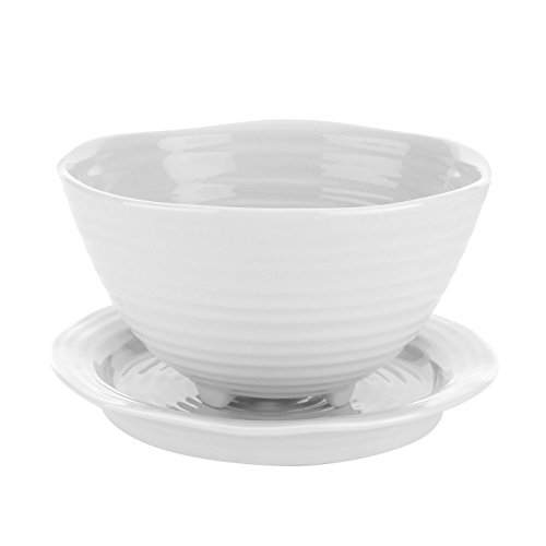 Portmeirion Home & Gifts Berry Bowl and Stand, Porcelain, White, 16.3 x 14.2 x 8 cm