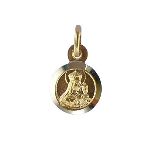 SACRE COEUR - Escapulario Sagrado Corazón y Vírgen del Carmen | Oro 18 Quilates | 9 x 9mm | Grabado por Las Dos Caras