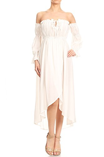 Anna-Kaci Womens Boho Long Sleeve Off Shoulder Renaissance Peasant Dress, Off-White, Large