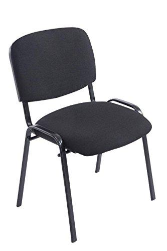Sedia per Sala Attesa Ken XL/Sedia Impilabile con Seduta in Tessuto, capacità di carico Fino a 150 kg, Sedia Conferenza Comoda e Robusta, Sedia Imbottita da conferenza Nero, Colore:Nero