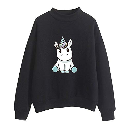 Unicorn Sweatshirt met Hoge Hals Unisex Pullover Lange Mouwen Coltrui Herfst Winter Hoodies Sweater Tops Top Blouse Uitloper Casual