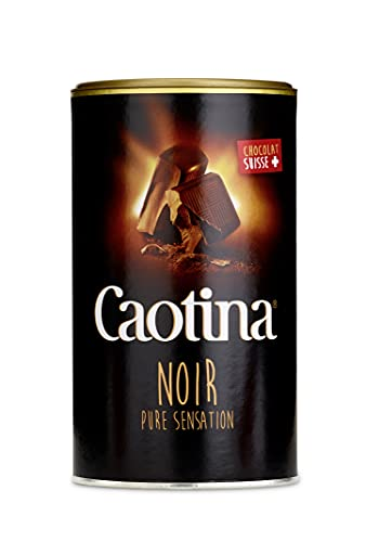 Caotina Noir dunkle Trinkschokolade - Kakao-Pulver für heiße Schokolade mit 45 Prozent Kakaoanteil und dunkler Schweizer Schokolade - feinster Cacao nachhaltig und zertifiziert