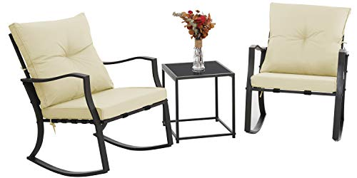 Gotland 3 Pieces Patio Rocking Chair Bistro Sets Outdoor Rocking Conversation Sets PVC Strap Modern Outdoor Patio Furniture Porch Chairs Two Chairs with Tempered Glass for Coffee Table (Cream)