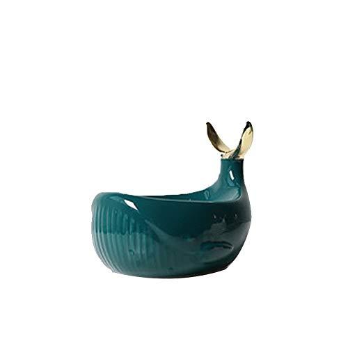 FEIHAIYANYfzh Jabonera Caja de jabón, Caja de jabón de Ballena de cerámica Minimalista Moderna, decoración Retro, Titular del Anillo de la joyería (Color: Blanco, Verde Oscuro) (Color : Green)