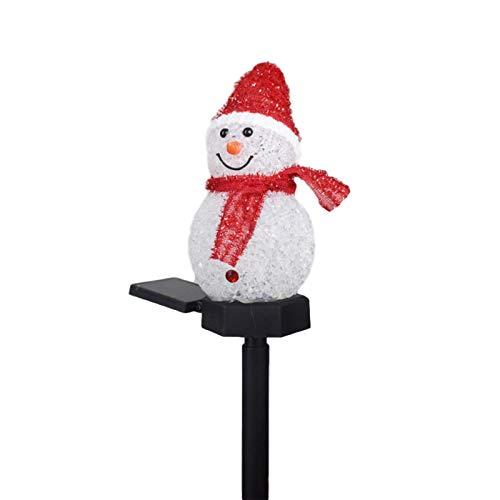 RecoverLOVE Luz solar al aire libre, diseño de muñeco de nieve solar, estaca de luces solares inalámbricas, impermeable, decoración de Navidad para decoración de patio