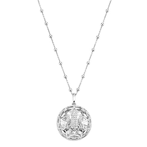 Amen Collana In Argento 925 Collezione Prega, Ama - Colore Rodio - Misura Unica Collana Chiama Angeli Angelo Zirconi