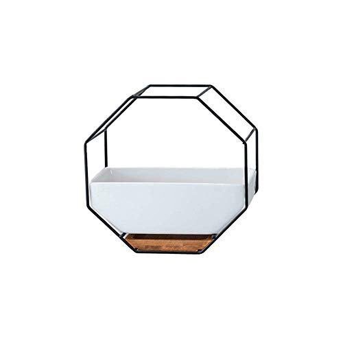 Metal Iron Rack White Ceramic Planter Pot Simple Octagonal Geometric Wall Hanging Ceramic Flower Pot Bamboo Tray Iron Frame Plant Container (Color : Black)
