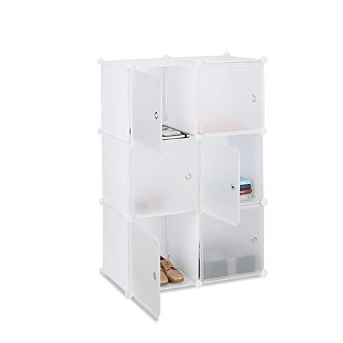 Relaxdays Estantería Modular Cubo con 6 Compartimentos, Plástico, Blanco,105 x 70 x 35 cm