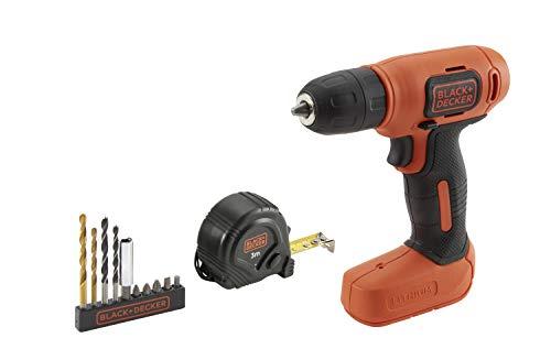 Black+Decker BDCD8GPA-QW - Taladro atornillador Ultra Compacto 7.2V 1.5Ah Litio con 11 accesorios y bolsa de transporte