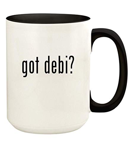 got debi? - 15oz Ceramic Colored Handle and Inside Coffee Mug Cup, Black