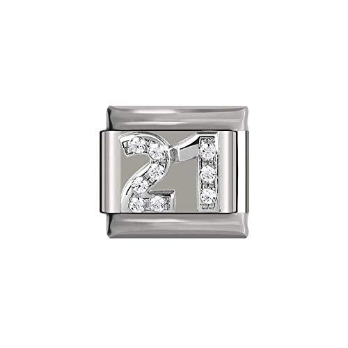 Silver Rhinestone Number 21 9mm Italian Charm Bracelet Link Fits Nomination