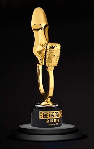Aangepaste Trofee Awards Microfoon Host Muziek Festival Microfoon Metalen Crystal Trophy Sport Competitie Party Ceremony Bedrijf Jaarlijkse Vergadering Prijs Gift Souvenir Lettering Ontwerp