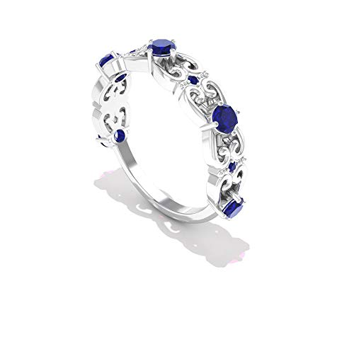 Rosec Jewels 10 quilates oro blanco redonda round-brilliant-shape H-I Blue Diamond Zafiro azul creado en laboratorio.