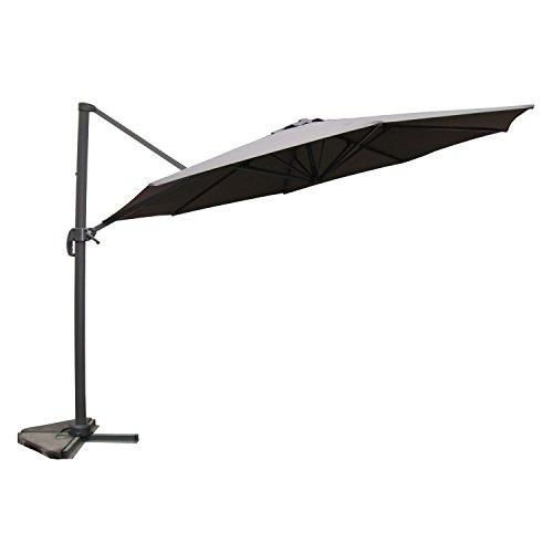 JFB Vivaro Gris: Parasol déporté,Rond Ø 350cm,Rotatif à 360°