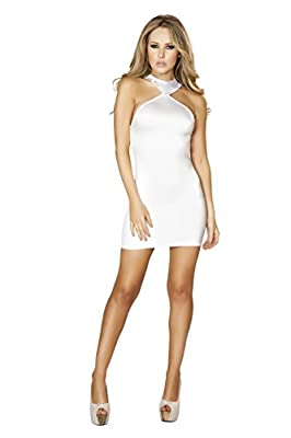 Roma Women's Mini Dress with Open Back and Rhinestone Details, White, Large