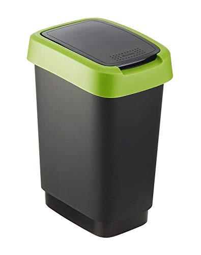 Rotho Twist Mülleimer 10 l, Kunststoff (PP), schwarz / grün, 10 Liter (24,8 x 18,1 x 33 cm)