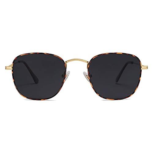 SOJOS Kleine Rechteckige Polarisierte Sonnenbrille UV400 Retro Vintage Brille für Damen Herren SJ1143 mit Gold Demi Rahmen/Graue Linse