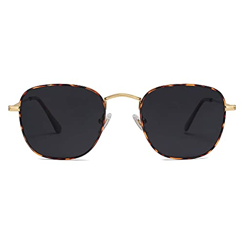 SOJOS Small Square Polarized Sunglasses for Women Men Classic Vintage Retro Style SJ1143 with Gold Demi/Grey