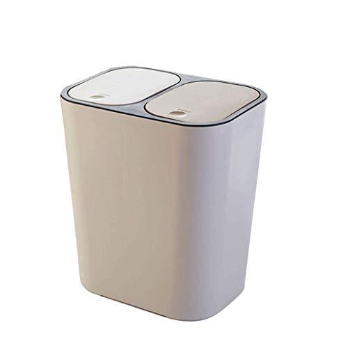 LXYZ Cubo de Basura de clasificación cilíndrico Largo con Tapa de Resorte, plástico, 3.9 galones, para Cocina, Estudio, Oficina, Sala de Estar, baño
