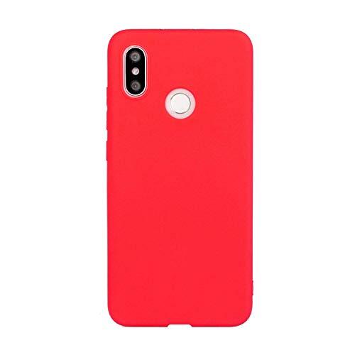 CUZZCASE Funda para Xiaomi Mi 8+{Protector de Pantalla de Vidrio Templado} Carcasa Silicona Suave Gel Rasguño y Resistente Teléfono Móvil Cover-Rojo