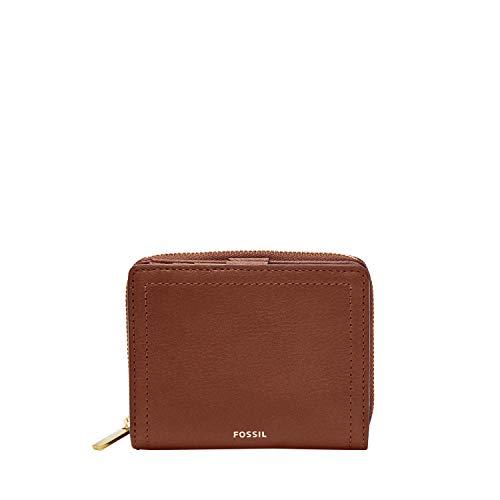 Fossil Women s Logan Leather RFID Mini Multifunction Wallet, Brown Multi