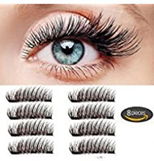 61845a3a384 Amazon.com : Magnet Eyelashes-Dual Magnetic False Eyelashes with Reusable  No Glue (2 pair 8 pieces) Lightweight 100% Handmade Eyelashes Extension for  ...