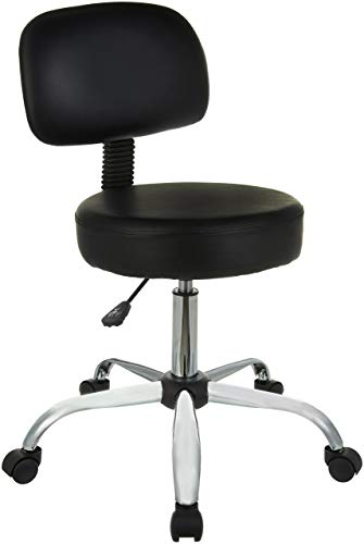 AmazonBasics MultiPurpose Drafting Spa Bar Stool with Back Cushion and Wheels  Black BIFMA Certified