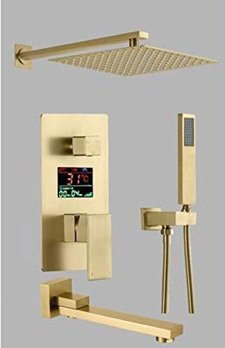 Grifo baño ducha LED juego de rociador montado en la pared cepillo para bañera dorado/negro latón estilo cuadrado pared de lluvia cepillo de cuero_ 金_10_inch,VSOVIZX3HEXRE