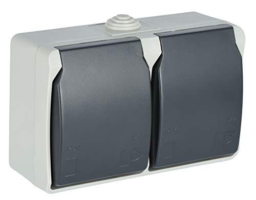 Electraline 605908 Toma de pared horizontal doble, 2 tomas Schuko 16A 2P + T, con tapas, Apto para ambientes exteriores y húmedos, protección IP44, Aquatop, Gris/antracita