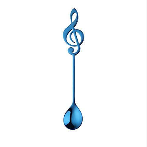 FHFF lepel, 1 stuk, muzieknoot, in de vorm van een lepel, koffielepel, roestvrij staal, melk, thee, dranken, koffie, Russische stijl, blauw