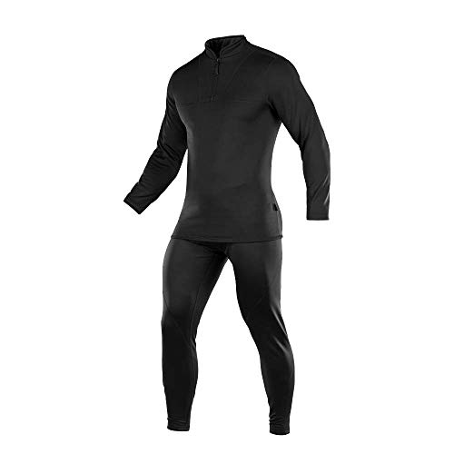 Mens Thermal Underwear Set Ultra Soft Fleece Lined Warm Extreme Cold Long Johns (Black, M)