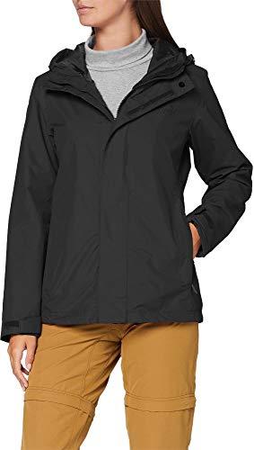 normani Damen Hardshelljacke mit Kapuze 10.000 mm Wassersäule Regenjacke mit Zip-T3K System Farbe Schwarz Größe S