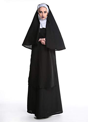 QINGTIAN Halloween Disfraz,Disfraz de Halloween,Disfraz de Virgen Mara,Disfraz de Monja,Disfraz de Sacerdote,Disfraz de graduacin,Sombrero con diseo de Chal,Negro (M,L,XL,XXL)