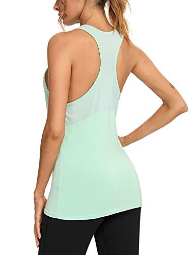 Wayleb Camiseta sin Mangas Mujer Deporte Verano Tank Top Camiseta Tirantes Deportivo para Running Fitness Yoga,Agua Verde,XL