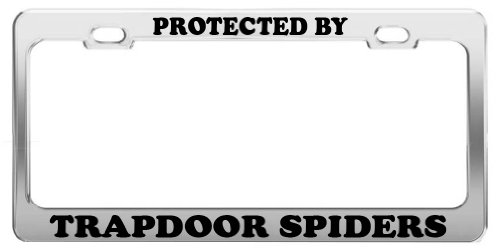 PROTECTED BY TRAPDOOR SPIDERS License Plate Frame Tag Car Truck Accessories
