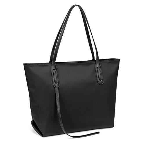 PINCNEL Designer Tote Bag for Women, Large Trendy Shoulder Top Handle Handbag, Travel Ready Purse, Waterproof(Black)
